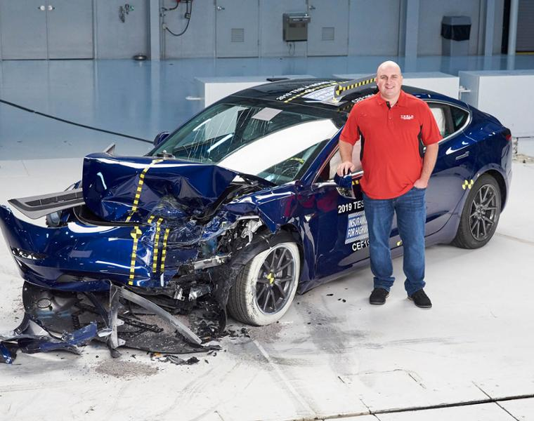 photo of Haight with Model 3 at crash test